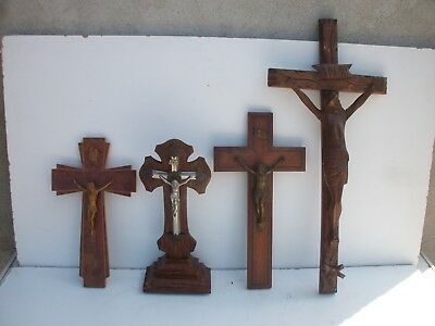 lot de 4 grand crucifix en bois