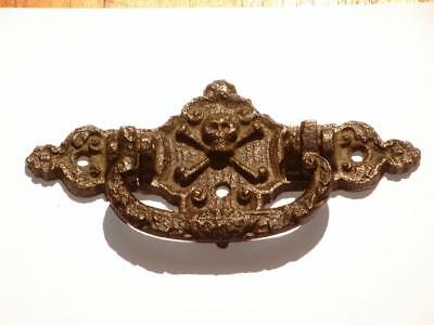 Antique Reclaimed Cast Iron Victorian Gothic Skull & Crossbones Door Knocker