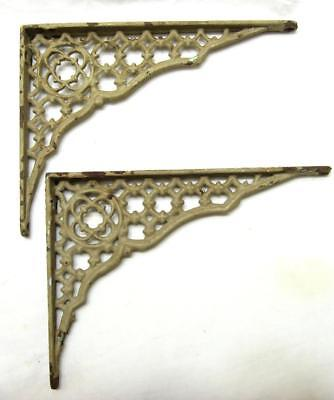 "Antique Ornate Cast Iron Shelf Brackets Pair Chipping Paint Tan VTG Rust 8""x6"""