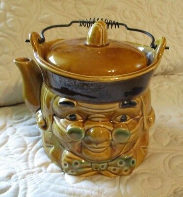 Vintage Old King Cole Figural Pottery Tea Pot w Crown Lid Wire Handle