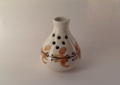 Jersey Pottery Vase, Posy Vase Hand Painted 1960s Pot Brown Floral Design