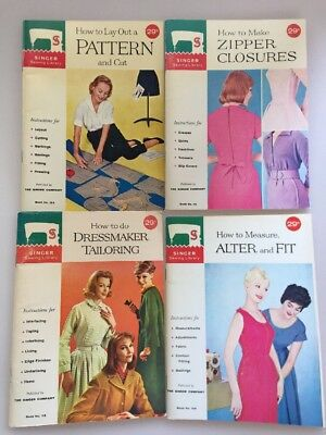 4 Vtg 1960s Singer Sewing Library Books Tailoring Alter Pattern Zipper