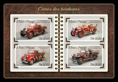 St Thomas - 2018 Fire Engines - 4 Stamp Sheet - ST18204a