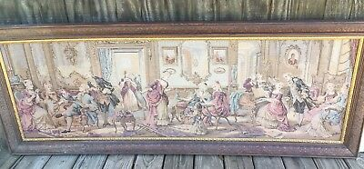 Vintage French Colonial Framed Woven Tapestry Tea Party Chic Antebellum
