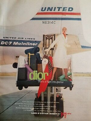 1956 DIOR women's fashion United Airlines dc-7 mainliner airplane ad