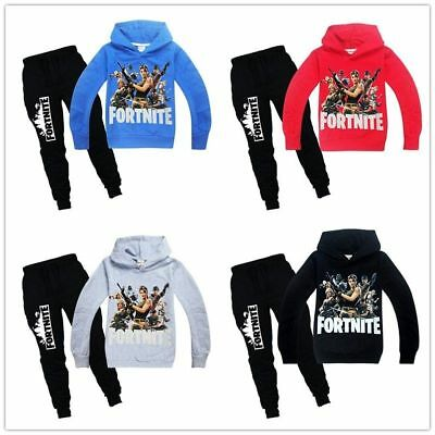 Fortnite Game kids Hoodies Tops Sweatshirt Clothes+trousers Pants set party gift