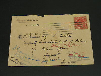 UK 1912 cover to India faults *3257