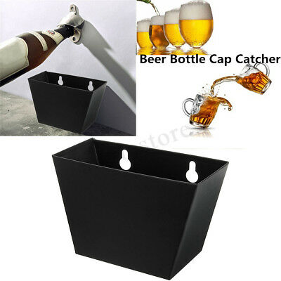 Bar Wall Mount Beer Soda Bottle Cap Catcher Stainless Steel Storage Box + Screws