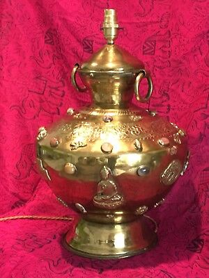 Large Antique Vintage Stone Encrusted Engraved  Indian Brass Table Lamp, Buddha