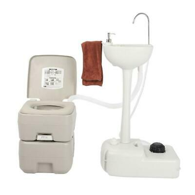 Outdoor Garden Camping Wash Basin With 20L Portable Flush Toilet Towel Holder