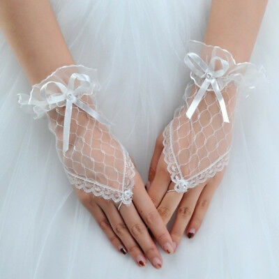 Women Lace Fingerless Bridal Short Wrist Gloves For Wedding Dress Gown