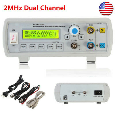 US 2MHz Channel DDS Signal Function Generator Sine Square Wave Sweep & Counter
