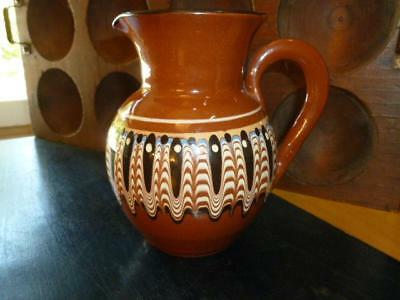 Vintage Bulgaria Troyan Feather Drip Redware Glazed Pottery Folk Art Creamer