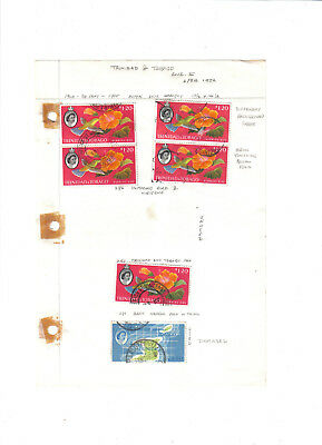 Stamps.Trinidad & Tobago.QE II.25 stamps on three old album pages