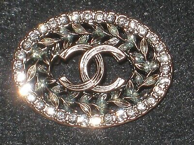 CHANEL  CC LOGO FRONT AUTH ROSE GOLD  BUTTON TAG 16 x 12 MM emblem NEW
