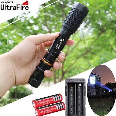 Ultrafire 50000Lumen 5Mode T6 LED Zoomable Flashlight Torch 18650battery Charger