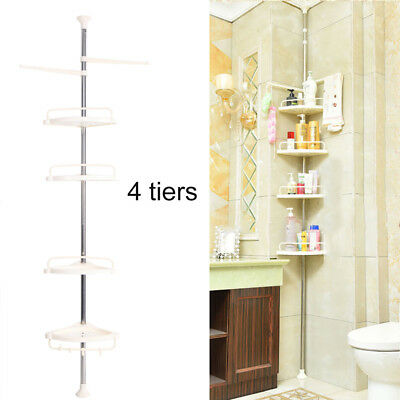 4Tier Bathroom Shower Corner Upright Hanging Pie Rack Caddy Shelf Storage Holder