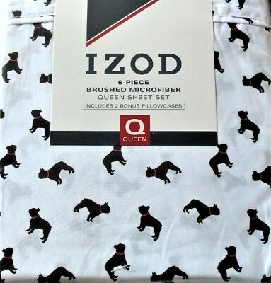 New Izod Great Dane Dogs 6 Pc Brushed Microfiber Queen Sheet Set Black White Red