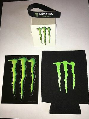Monster Energy Sticker/Decal, Drink Koozie, 2 Tattoos, Wristband and Carrying Ba