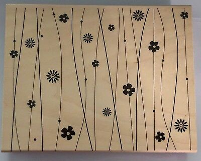 LINE AND FLOWER PATTERN Background HERO ARTS Wood Mounted Rubber Stamp New