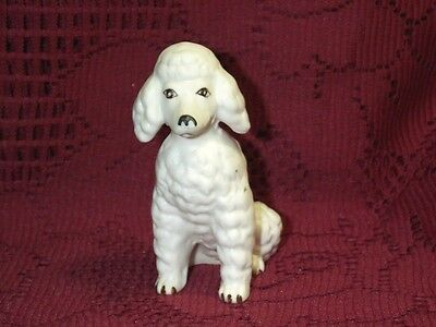 """Vintage White Poodle Puppy Dog Sittings Ceramic Figurine 3 1/2"""" Tall Cute Eyes"""