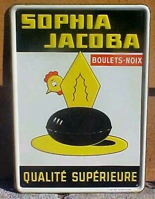 1958 French Egg Advertising Sign Painted On Tin