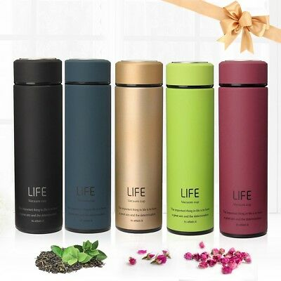 500ML Stainless Steel Vacuum Insulated Water Bottle Flask Thermos Hot/Cold Cup