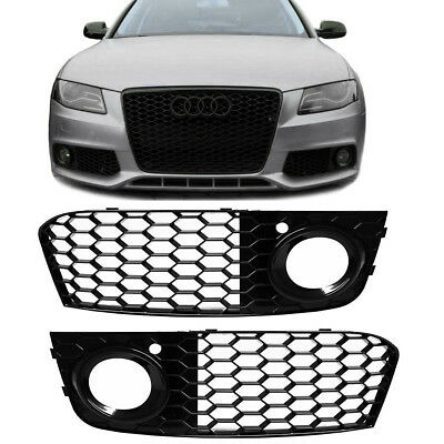 Pair Honeycomb Mesh Fog Light Open Vent Grill RS4 Style For AUDI A4 B8 2009-2012