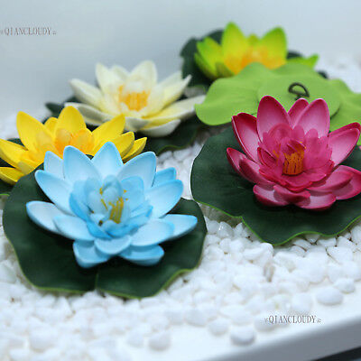 10 PCS Artificial Fake Lotus flowers Water Lily Floating Pool Plants wedding B98