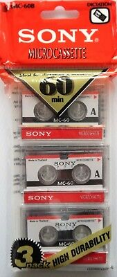 3 Pack - Sony Mc-60 Microcassette Tapes - Sealed