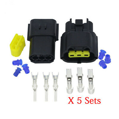 5 Sets/Kits 3 Pin 1.8mm Series Waterproof Electrical Connector 174359-2&174357-2