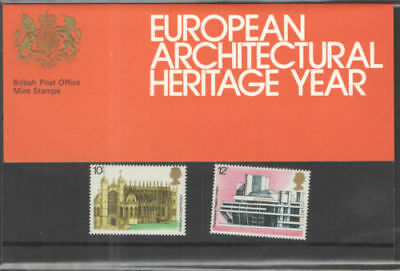 GB 1975 European Architectural Heritage Year Presentation Pack VGC. Stamps