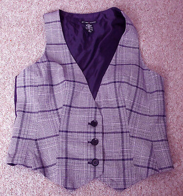 "34"" Purple Checked Button Fastening Waistcoat"
