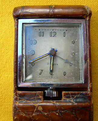 ART DECO PENDULE PENDULETTE DE VOYAGE SWISS MADE 8 DAYS clock reloj