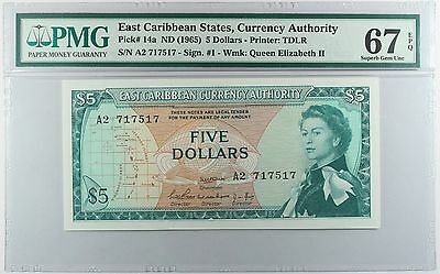East Caribbean States ... P-14a ... 5 Dollars ... ND(1965) ... PMG 67EPQ!