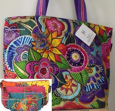 Laurel Burch OVERSIZED Tote Carlottas Garden Quilted + 3pc Cat Clan Makeup