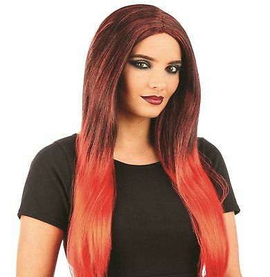 Ladies Red Black Ombre Wig Adult Witch Vampire Halloween Fancy Dress New