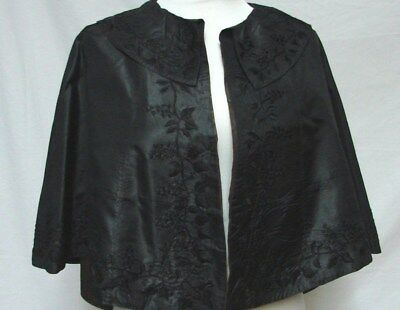 Antique Victorian Edwardian Embroidered Grape Vines Black Silk Cape Capelet