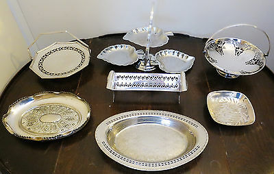 Collection of 7 Silver Plate & Other Metal Cake & Cracker Stands, Dishes & Trays