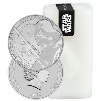 Lot of 25 - 2018 $2 Niue Silver Darth Vader Star Wars .999 1 oz BU Full Roll