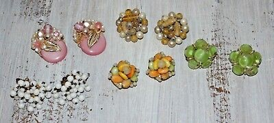 Lot of Vintage Cluster Clip On Earrings 5 Pair  (LOT 1)