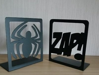 A Pair of Either Spiderman or Zap Metal Bookends (Marvel) NEW