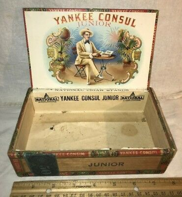 Antique Yankee Consul Wood Cigar Box Vintage Tobacco New York Country Store Old