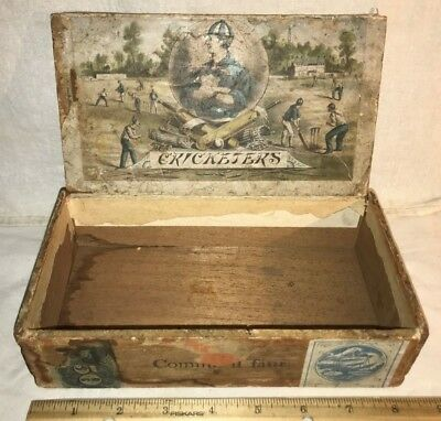 Antique Cricketers Wood Cigar Box Vintage Tobacco Bat Ball Sport Athlete Wicket