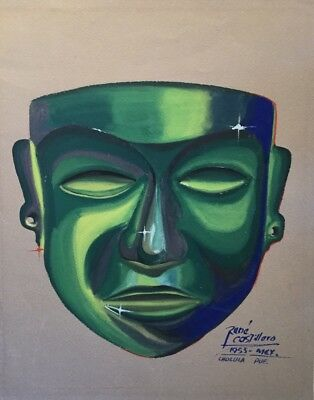 Green Mexico Mask Painting Signed Rene Costillero Cholula Pueblo 1955 Original