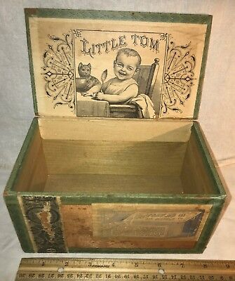 Antique Little Tom Wood Cigar Box Vintage Tobacco Baby Cat Kitten Victorian Old