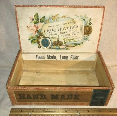 Antique Little Havanas Cuba Hand Made Wood Cigar Box Vintage Tobacco Ohio Old