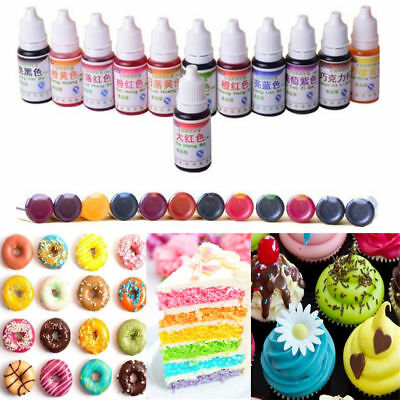 12Colors 10ML America Edible Cream Baking Pigment Food Coloring Fondant Cake Hot