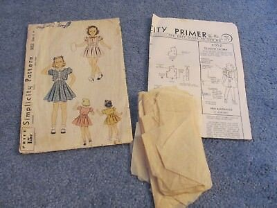 Vintage Simplicity Sewing Pattern 3052 Girl's  Dress Sz6  1930s Complete