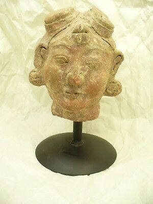 10th to 14th Century Javanese Terracotta Head with Unusual Headdress